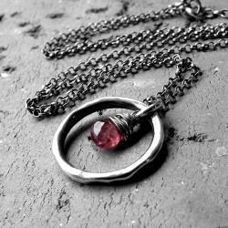 delikatny,naturalny,srebrny naszyjnik,turmalin - Naszyjniki - Biżuteria