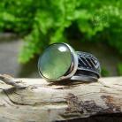 Pierścionki srebrny,zielony,prehnit,boho,okazały