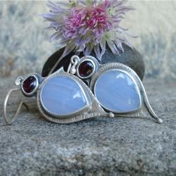błekitny kamień,chalcedon,Rivendell - Kolczyki - Biżuteria