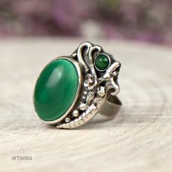pierścionek z,malachitem,srebrny,zdobiony,artseko - Pierścionki - Biżuteria