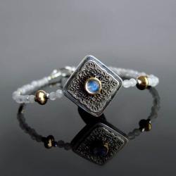 bransoletka,kamień księżycowy,orient,pozłacane - Bransoletki - Biżuteria