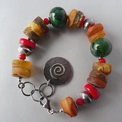 bursztyn,koral,z bursztynem - Bransoletki - Biżuteria