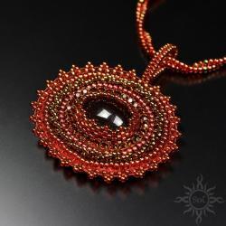 czerwony,misterny,koronkowy,jadeit,bordowy - Naszyjniki - Biżuteria