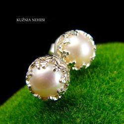 Nehesi,Kolczyki,ze Srebra,wkrętki,perły - Kolczyki - Biżuteria