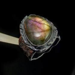 labradoryt,srebrny,blask,surowy,tęczowy,fiolet - Pierścionki - Biżuteria