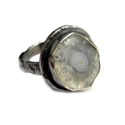 srebrny,agat,oksydowany,szarości,jesienny,zimowy - Pierścionki - Biżuteria