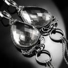 Kolczyki srebrne,kolczyki,wire-wrapping,kryształ,górski