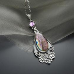 wisior,srebrny,z fioletowym labradorytem - Wisiory - Biżuteria