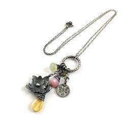 naszyjnik,kolorowy,delikatny,kwiaty,srebrny, - Naszyjniki - Biżuteria