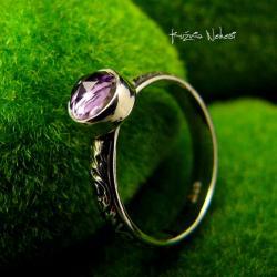 Nehesi,pierścień,srebrny,elfy,delikatny,ametyst - Pierścionki - Biżuteria