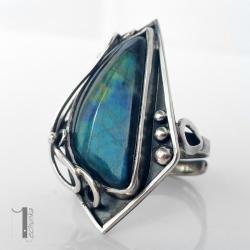 pierścień srebrny,spektrolit,metaloplastyka - Pierścionki - Biżuteria