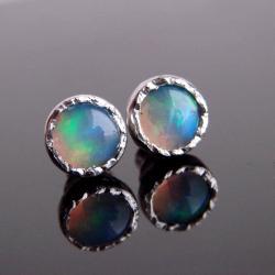 kolczyki,opal,srebro,sztyfty - Kolczyki - Biżuteria