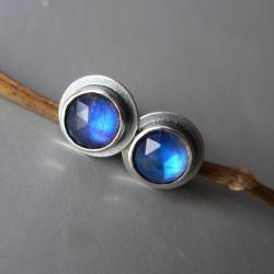 kamień księżycowy,na sztyftach,niebieski kamień - Kolczyki - Biżuteria