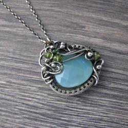 chalcedon,srebro,wire wrapping - Naszyjniki - Biżuteria