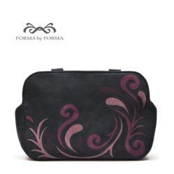 torebka na ramię,fiolet,czarny,aplikacja,ekozamsz - Na ramię - Torebki