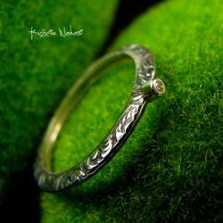 Nehesi,Pierścień,Ze Srebra,obączka,Diamentem - Pierścionki - Biżuteria