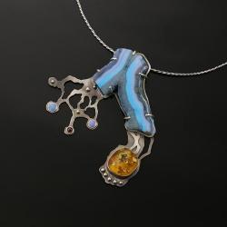duży naszyjnik,srebrny naszyjnik,bursztyn - Naszyjniki - Biżuteria