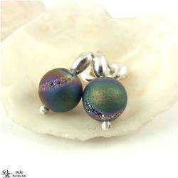 kolczyki,mini,agat,tytanowany,kolorowy,sztyfty - Kolczyki - Biżuteria