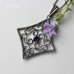 ametystowy,elegancki,ażurowy,koronka - Wisiory - Biżuteria