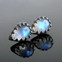 kamień księżycowy,kolczyki,srebro,sztyfty - Kolczyki - Biżuteria