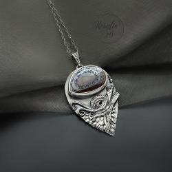 srebrny,wisior,ze smokiem,z opalem - Wisiory - Biżuteria