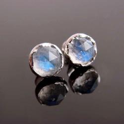 srebro,kolczyki,kamień księżycowy,sztyfty - Kolczyki - Biżuteria