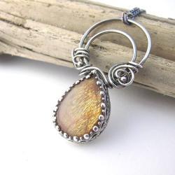 sunstone,kamień słonecznym,srebrny naszyjnik - Naszyjniki - Biżuteria