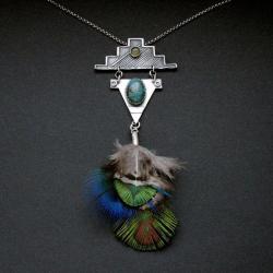wisiorz piórami,biżuteria artystyczna,fiann - Wisiory - Biżuteria