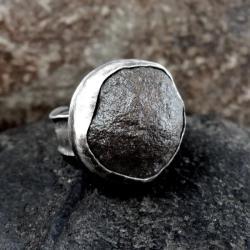 Pierścionek srebro i kamień moqui - Pierścionki - Biżuteria