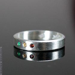 obrączka,szmaragd,cytryn,granat,prosta,srebrna - Pierścionki - Biżuteria