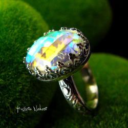 Nehesi,pierścień,srebrny,elfy,delikatny,kwarc - Pierścionki - Biżuteria