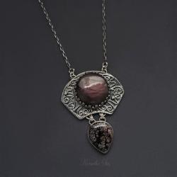 srebrny,naszyjnik,z labradorytem,orientalny - Naszyjniki - Biżuteria
