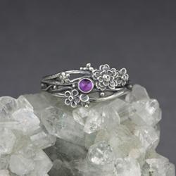 pierścionek gałązkowy,ametyst,srebrne kwiaty - Pierścionki - Biżuteria