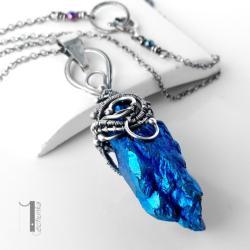 naszyjnik srebrny,kwarc tytan,wire wrapping,925 - Naszyjniki - Biżuteria