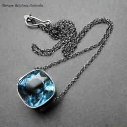 srebro,kwarc,surowy,oksydowany - Naszyjniki - Biżuteria