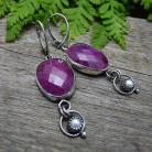 Kolczyki klasyczne,eleganckie,rubiny,perły,srebrne