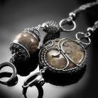 Kolczyki srebrne,kolczyki,wire-wrapping,skamieniały,koral