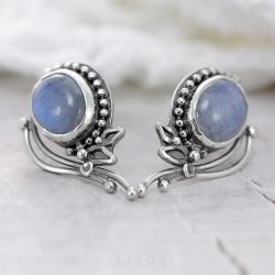 kamień ksieżycowy,niebieskie kolczyki,sztyfty - Kolczyki - Biżuteria