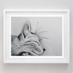 kotek,akwarela,czarny - Obrazy - Wyposażenie wnętrz