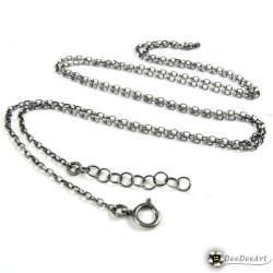 łańcuszek,srebro,70cm,oksydowany,biały - Inne - Biżuteria
