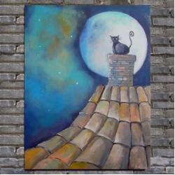 kot,dach,bajka - Obrazy - Wyposażenie wnętrz