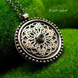 Nehesi,naszyjnik,srebrny,mandala,topazem - Naszyjniki - Biżuteria