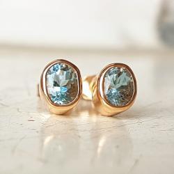 kolczyki,złoto,akwamaryn,sztyfty - Kolczyki - Biżuteria