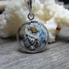 Naszyjniki srebrny,okrągły,yin yang,zen,wisiorek,muszelki,