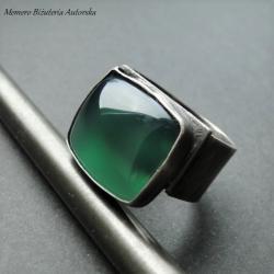 srebro,onyks,szmaragdowy,sygnet,masywny - Pierścionki - Biżuteria