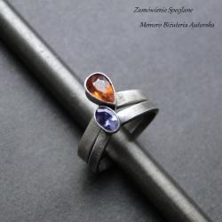 srebro,tanzanit,granat,diadem - Pierścionki - Biżuteria