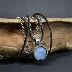 naszyjnik z kamieniem księżycowym,z rzemieniem - Naszyjniki - Biżuteria
