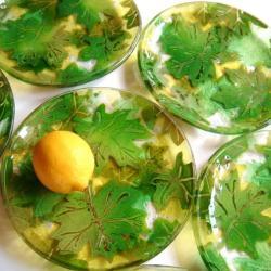 talerzyki,komplet,wiosna,zieleń - Ceramika i szkło - Wyposażenie wnętrz