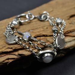 srebrna bransoleta,bransoleta z opalem - Bransoletki - Biżuteria