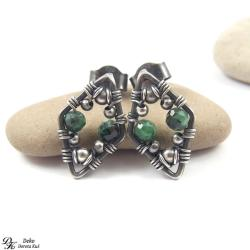 kolczyki,romby,wirewrapping,zielone,zoisyt,sztyfty - Kolczyki - Biżuteria
